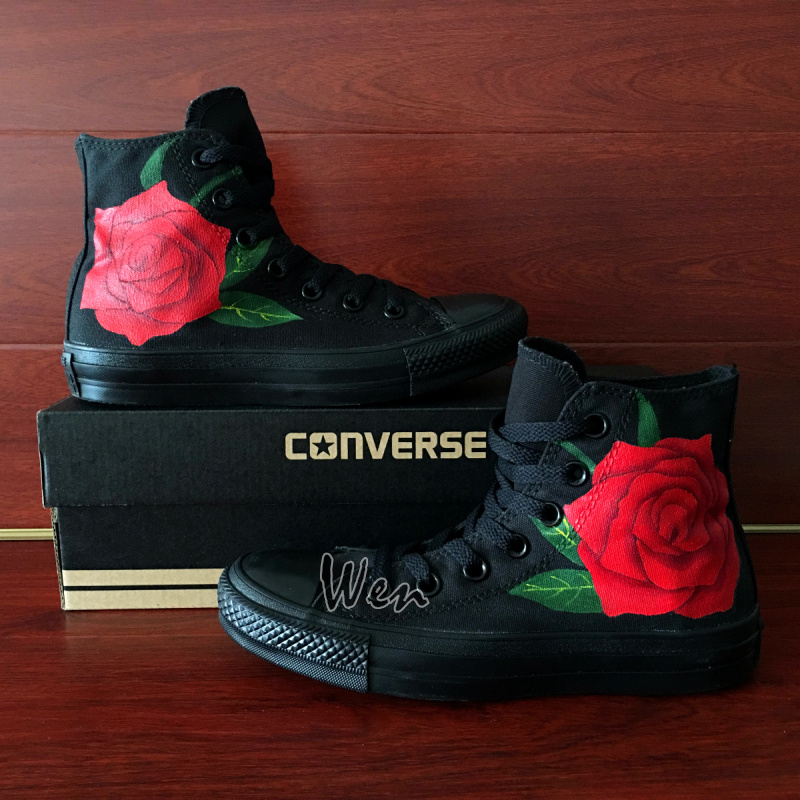703a717a425 Hand Painted Converse All Star Canvas Shoes Red Rose High Top All Black Canvas  Sneakers Gifts for Men Women on Storenvy