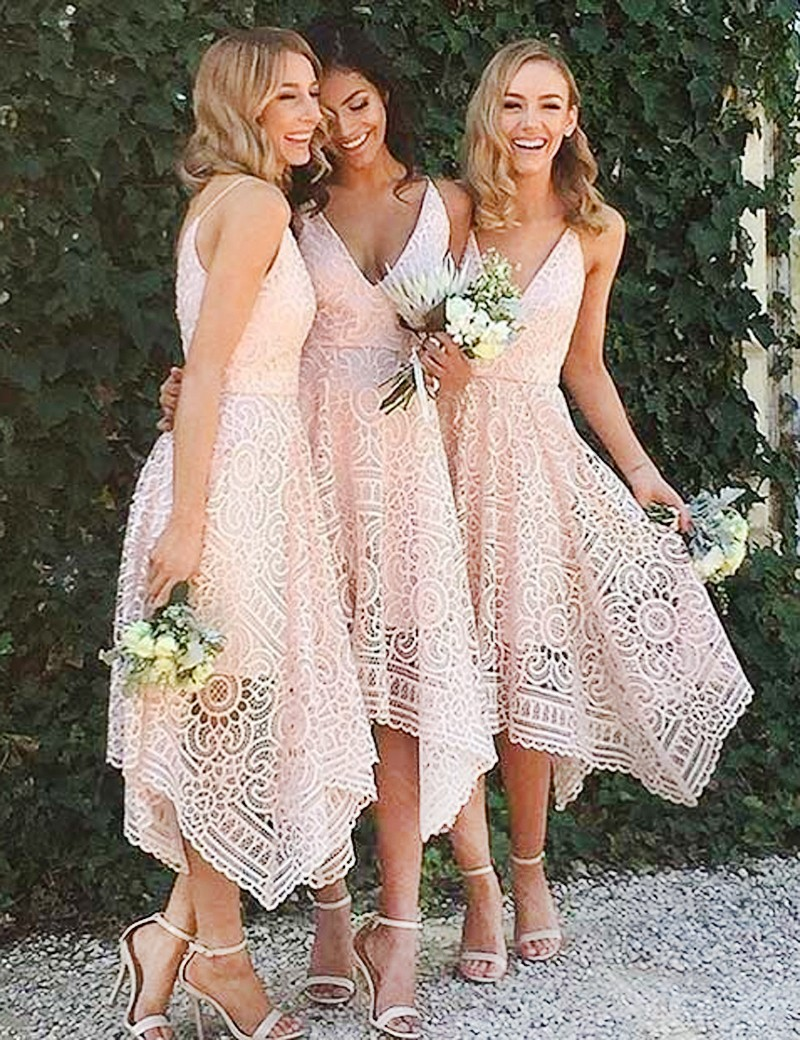 1a1bb0ba85 Asymmetrical Deep V Neck Tea Length Pink Lace Bridesmaid Prom Dress on  Storenvy