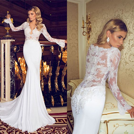 D254 Charming Long Lace Wedding Dresses, Mermaid Fish Tail Wedding ...