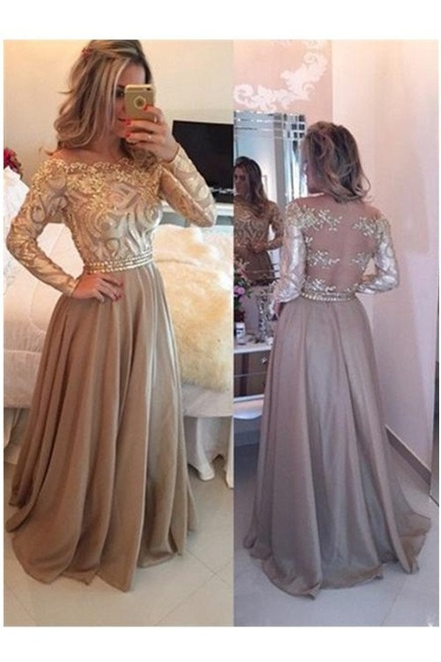 A Line Cowl Gold Long Prom Dresses Long Sleeves Evening