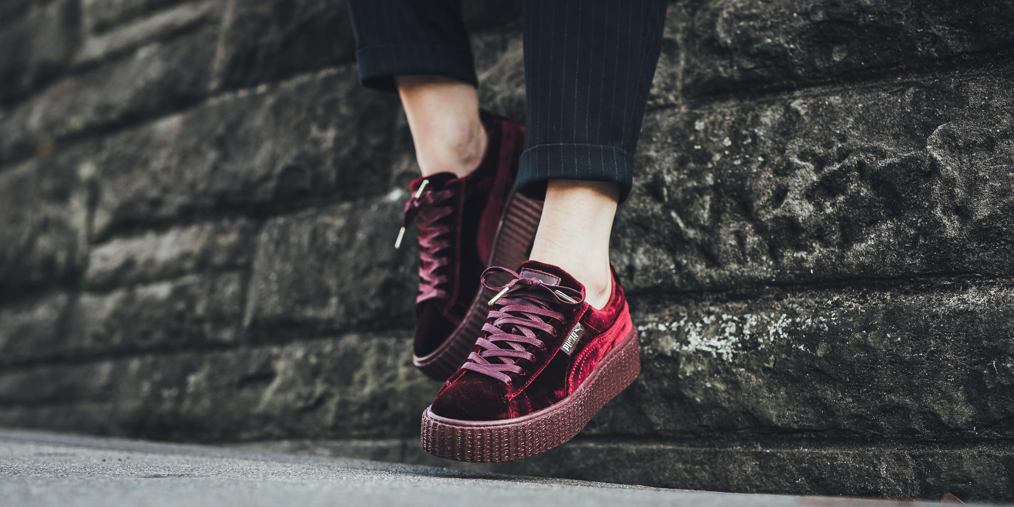san francisco 48fc6 2f8aa Fashion Shoes by Rihanna Women's Velvet Burgundy Creeper Casual sneaker  from BELLDRESS