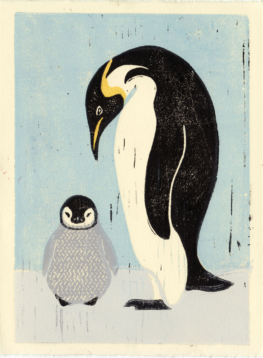 Penguins Original Hand Pulled 5 X 7 Linocut Illustration