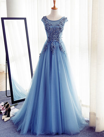 lolipromdress blue appliques lace up capped sleeves a line tulle prom dress on storenvy. Black Bedroom Furniture Sets. Home Design Ideas