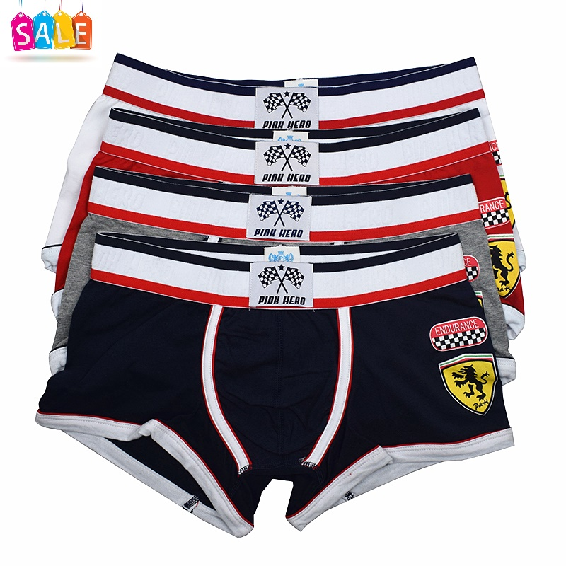 cd8281d0e57 4PK SALE- Pink Hero New Men's Underwear Gay Fashion Sexy Racer Stamp Men's  Boxer Shorts