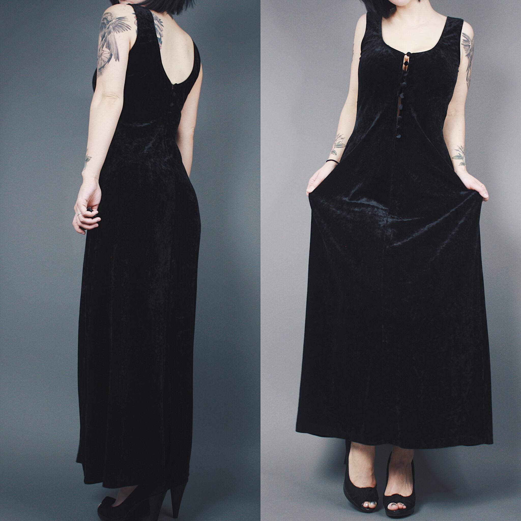 5d6af9e0c789f CLAIMED  thelittleasian - Vintage 90s Reversible Black Crushed Velvet Button  Down Sleeveless Maxi Dress -