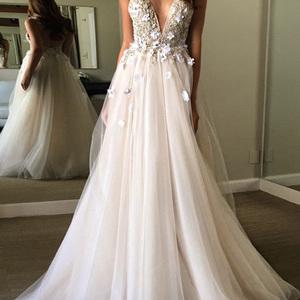 bcf5707b7a62 Unique v neck light champagne tulle long prom dress, evening dress