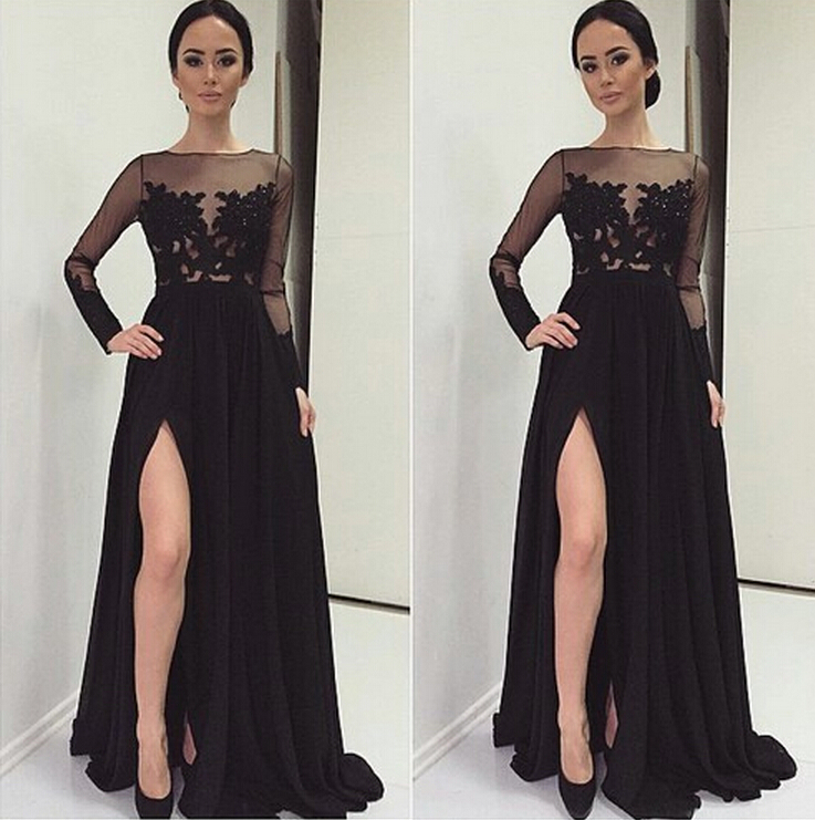 Black Lace Prom Dresses, High Neck Long Sleeves Prom Dress, A Line ...