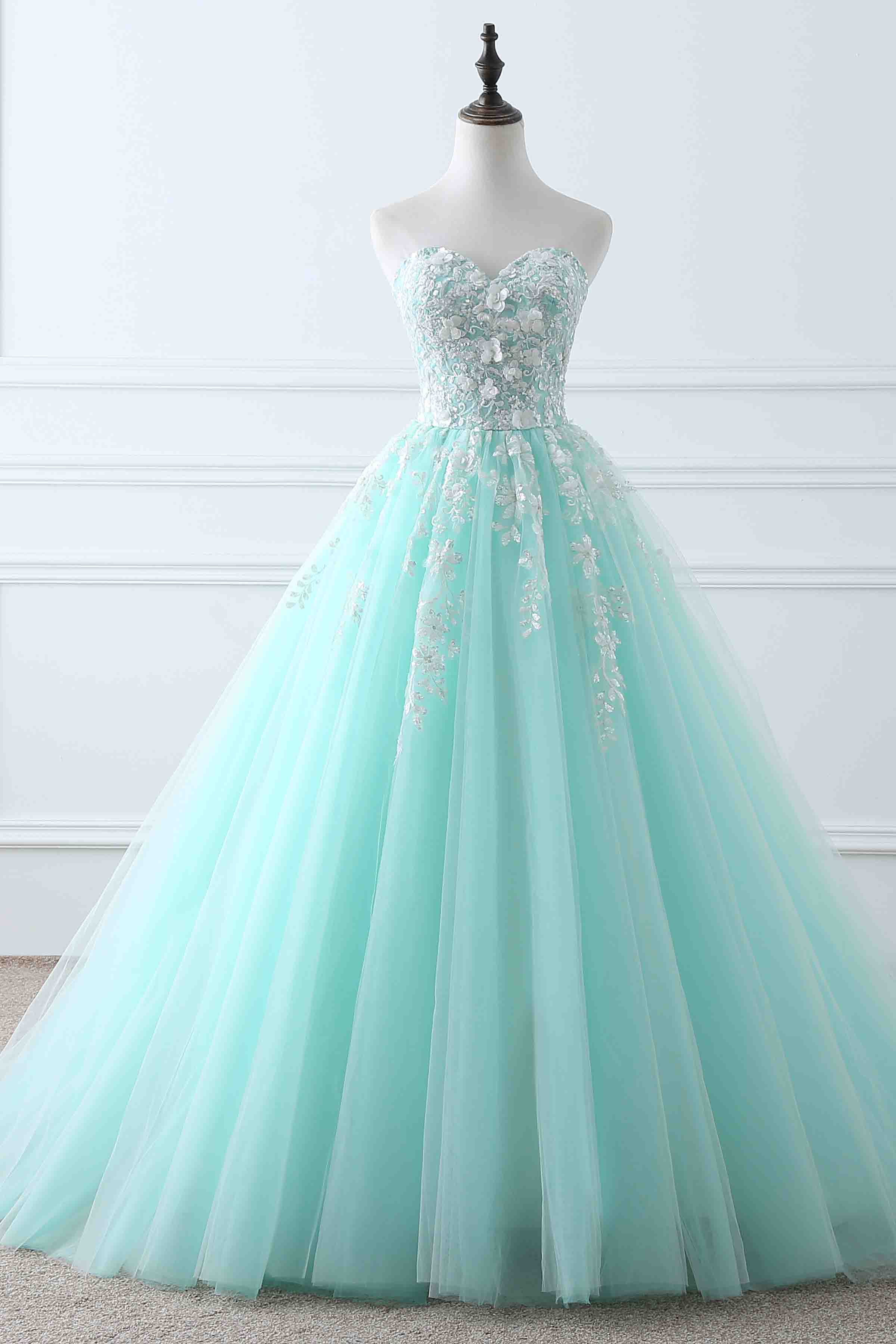 2e3a1e90986 Light blue tulle applique sweetheart lace up ball gown dresses ...