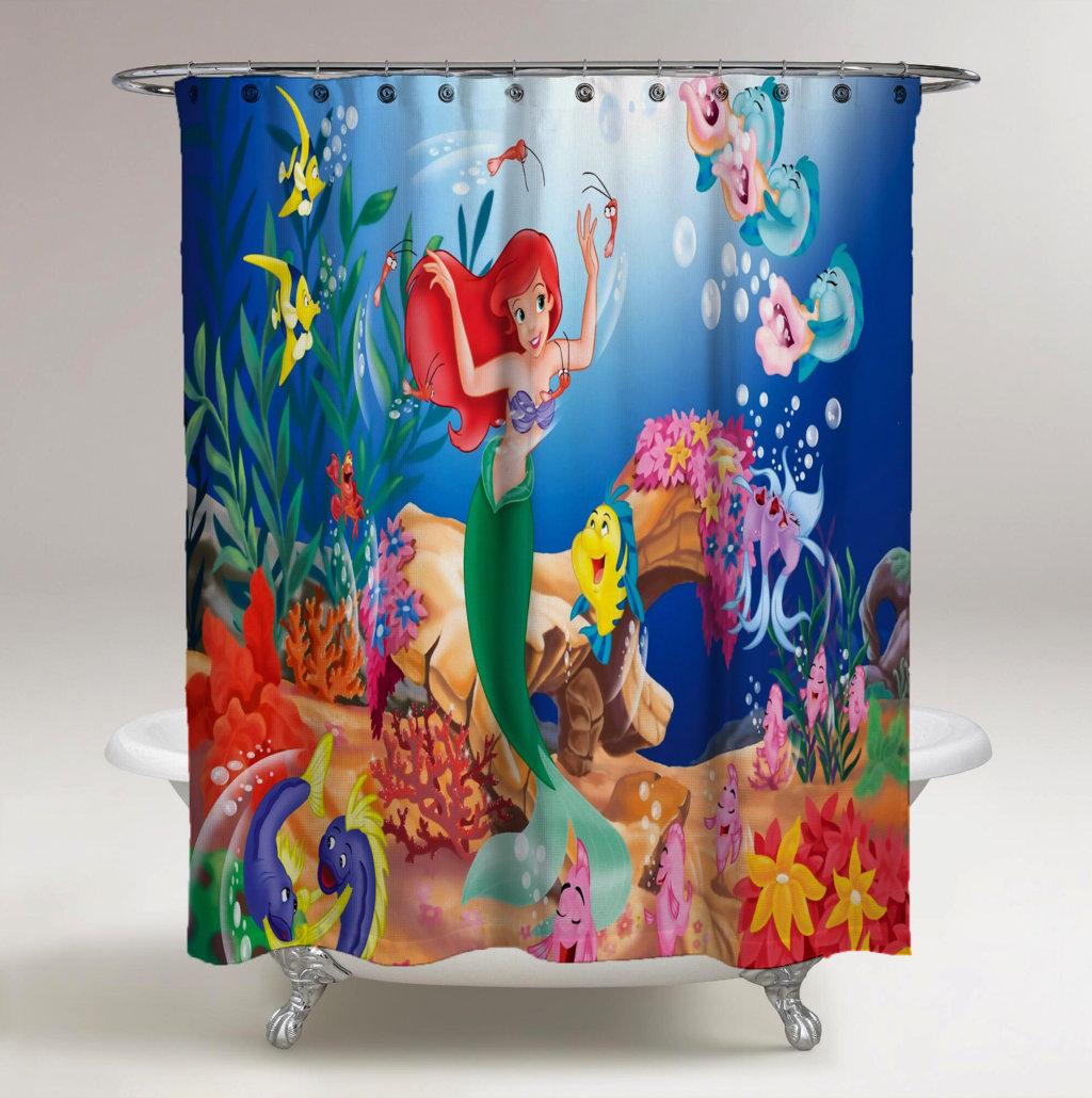 Cute Little Mermaid Disney Custom Design Shower Curtain Print On
