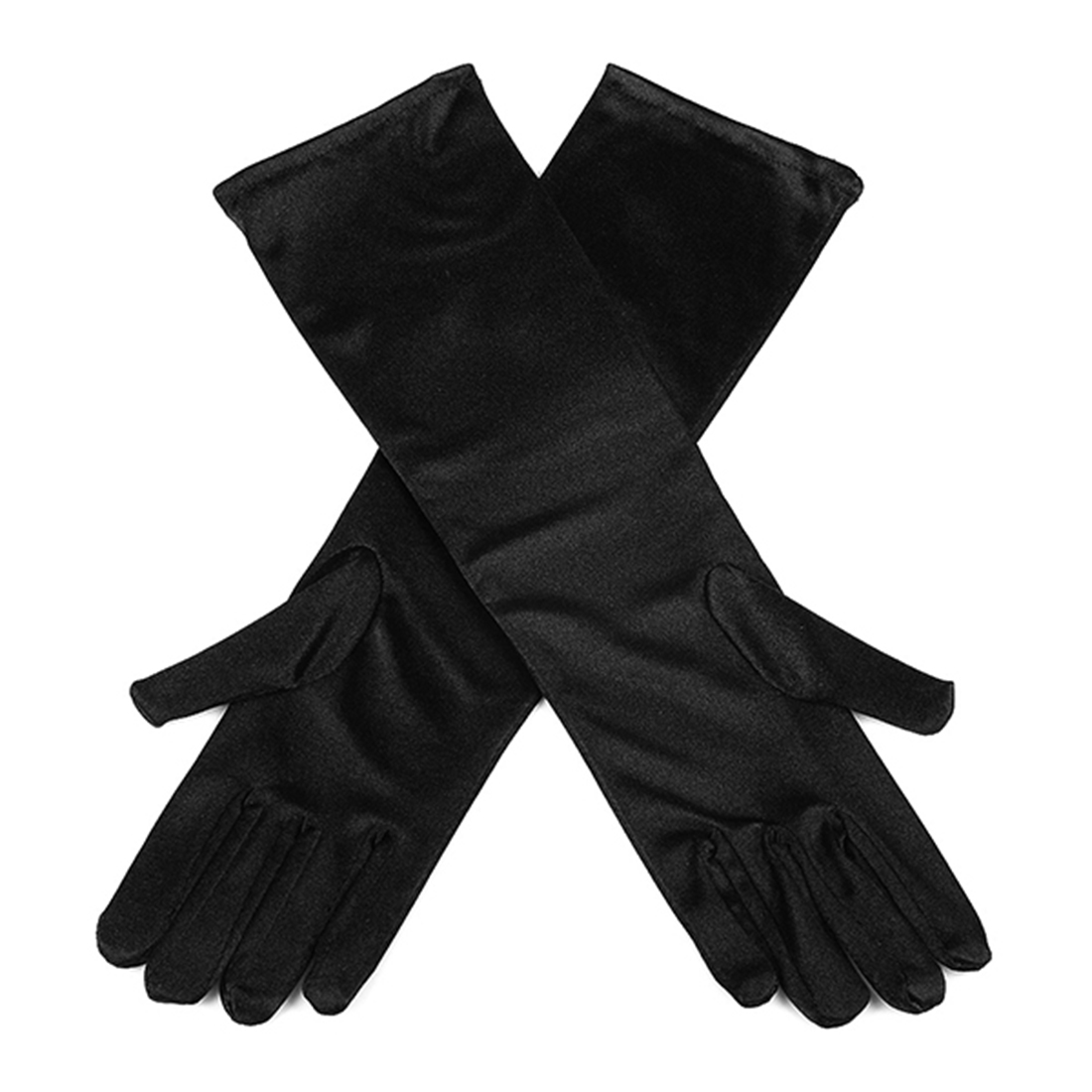 Gloves Long Girls//Kids Size Black Satin Ages 4-10