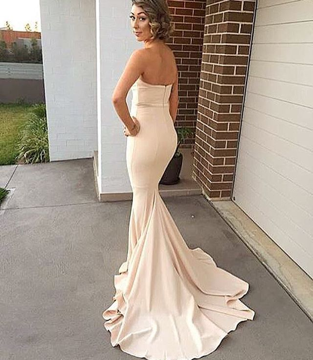 0971b35c67e4 New Style Champagne Mermaid Prom Dress,Sweetheart Satin Pageant Gown With  Sweep Train - Thumbnail ...