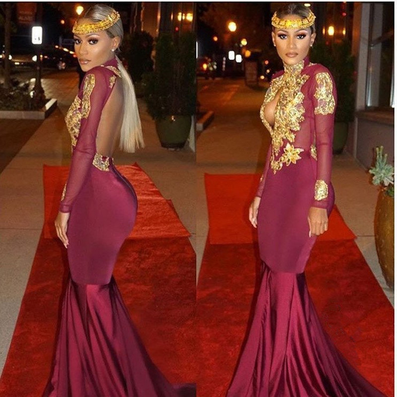 4fe74caf909 Sexy Black Girl Prom Dress Evening Dress Burgundy High Neck with Golden  Appliques Open Back Long Prom Dresses on Storenvy
