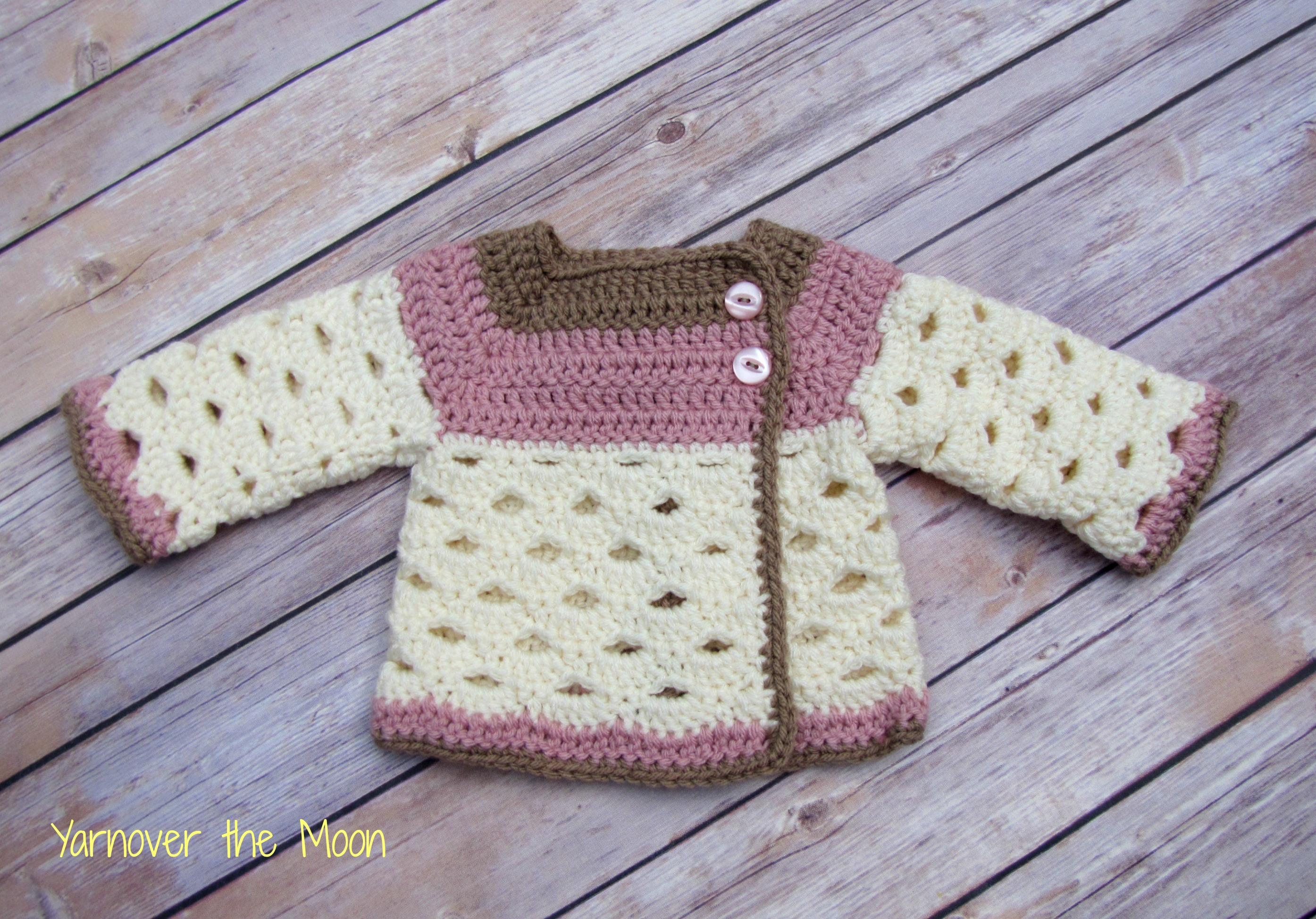 Crochet Baby Sweater Cardigan Yarnover The Moon Online Store