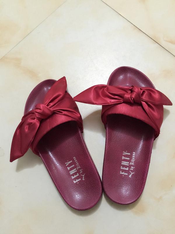 62bf6ce2b4e3 Fashion Fenty x Rihanna Bandana Women s Bow Slides RED - Thumbnail ...