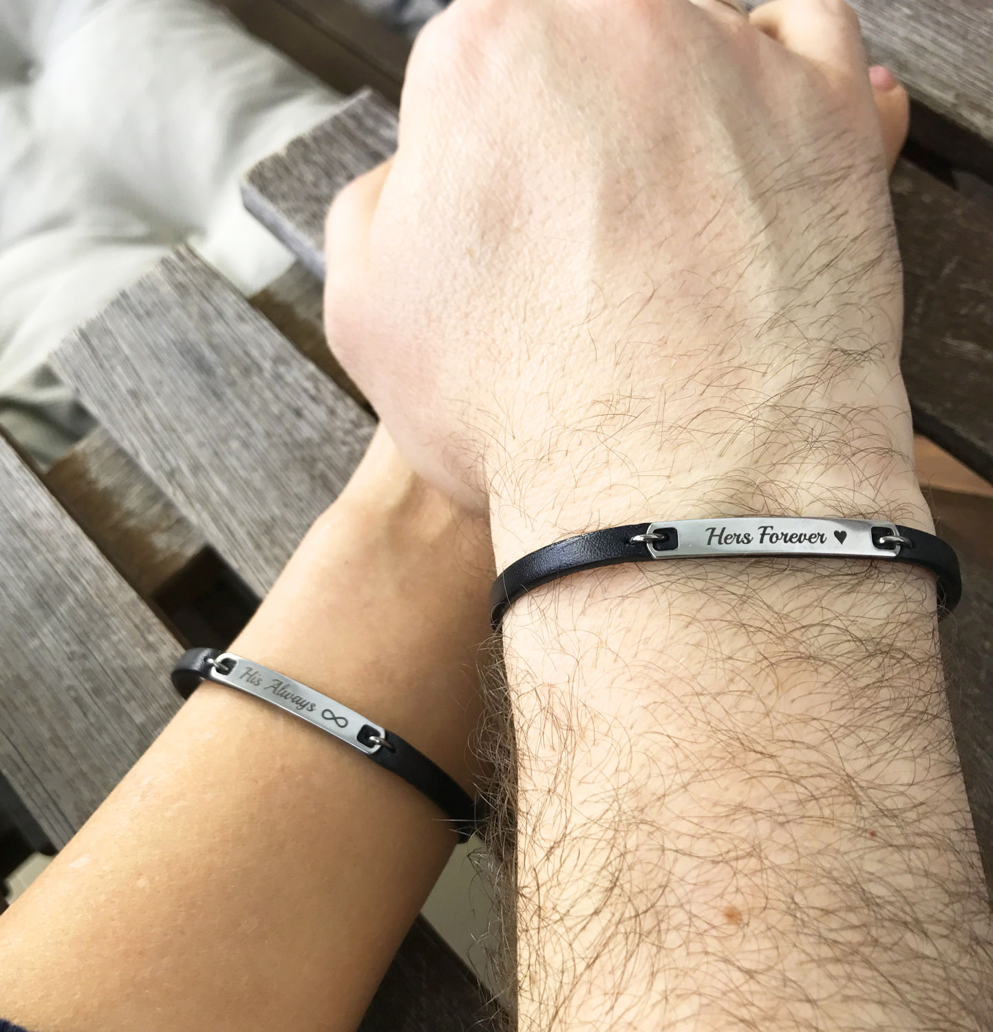 6d11facf3e Always and Forever Couple Leather Bracelet His and Her Leather Anniversary  For Her Personalized Matching Jewelry