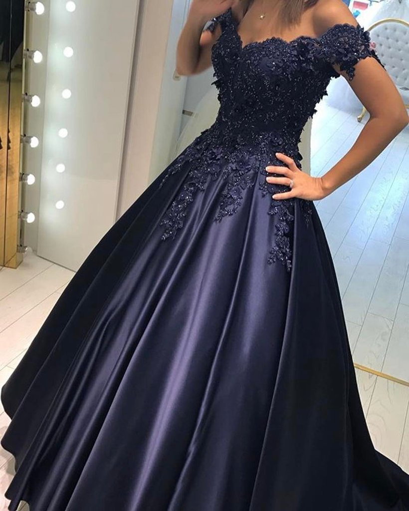 Navy Blue Prom Dresses Ball Gowns Lace Off Shoulder Formal Evening ...