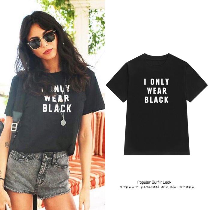 01404d84f76 Street Summer Fashion T-Shirt I Only Wear Black Word Tee DC274