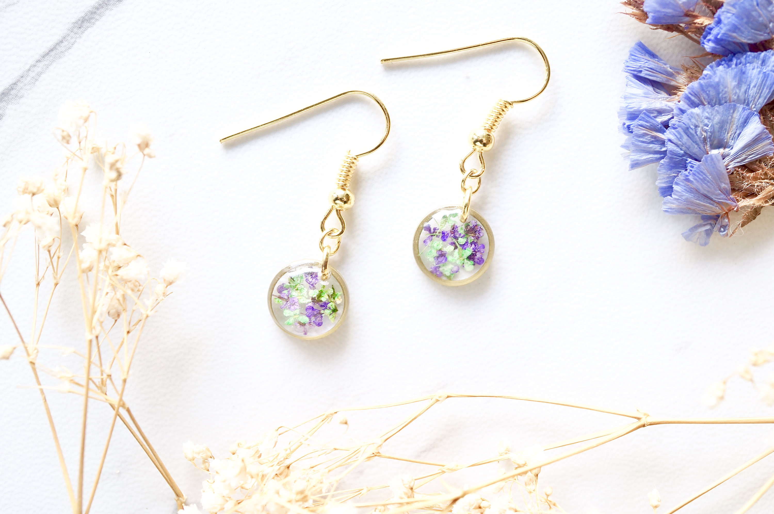 e442ddbf1 Real Dried Flowers and Resin Earrings, Gold Circle Drops in Purple Green