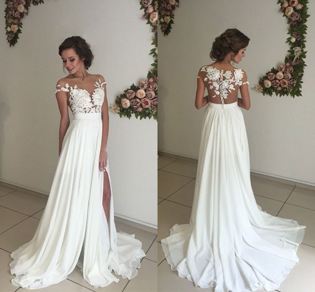 9d8cda76e16b Elegant Summer Beach Wedding Dresses Sheer Lace Appliques Chiffon ...
