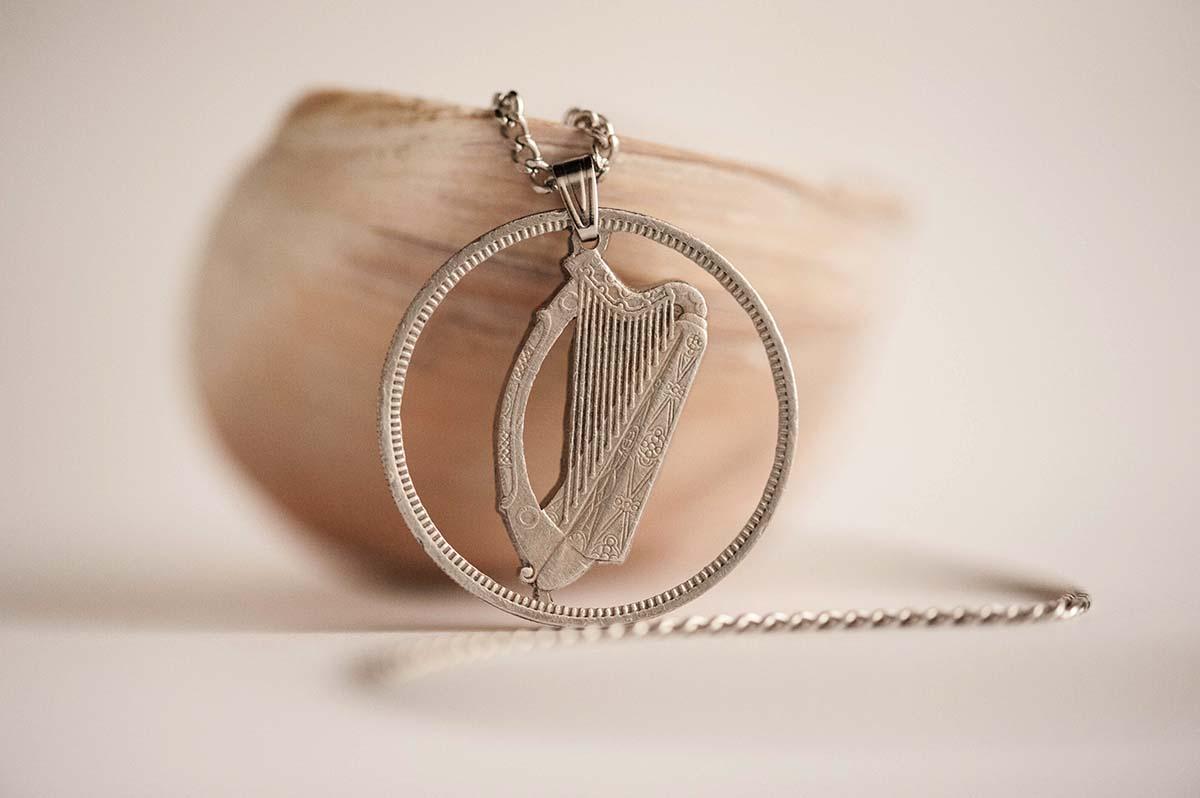 Ireland Cut Coin Necklace in Silver Colour  Irish Coin, 1 Flóirin,  1951-1968   Handmade, Gaelic Harp, Cláirseach, Celtic art sold by Ategina