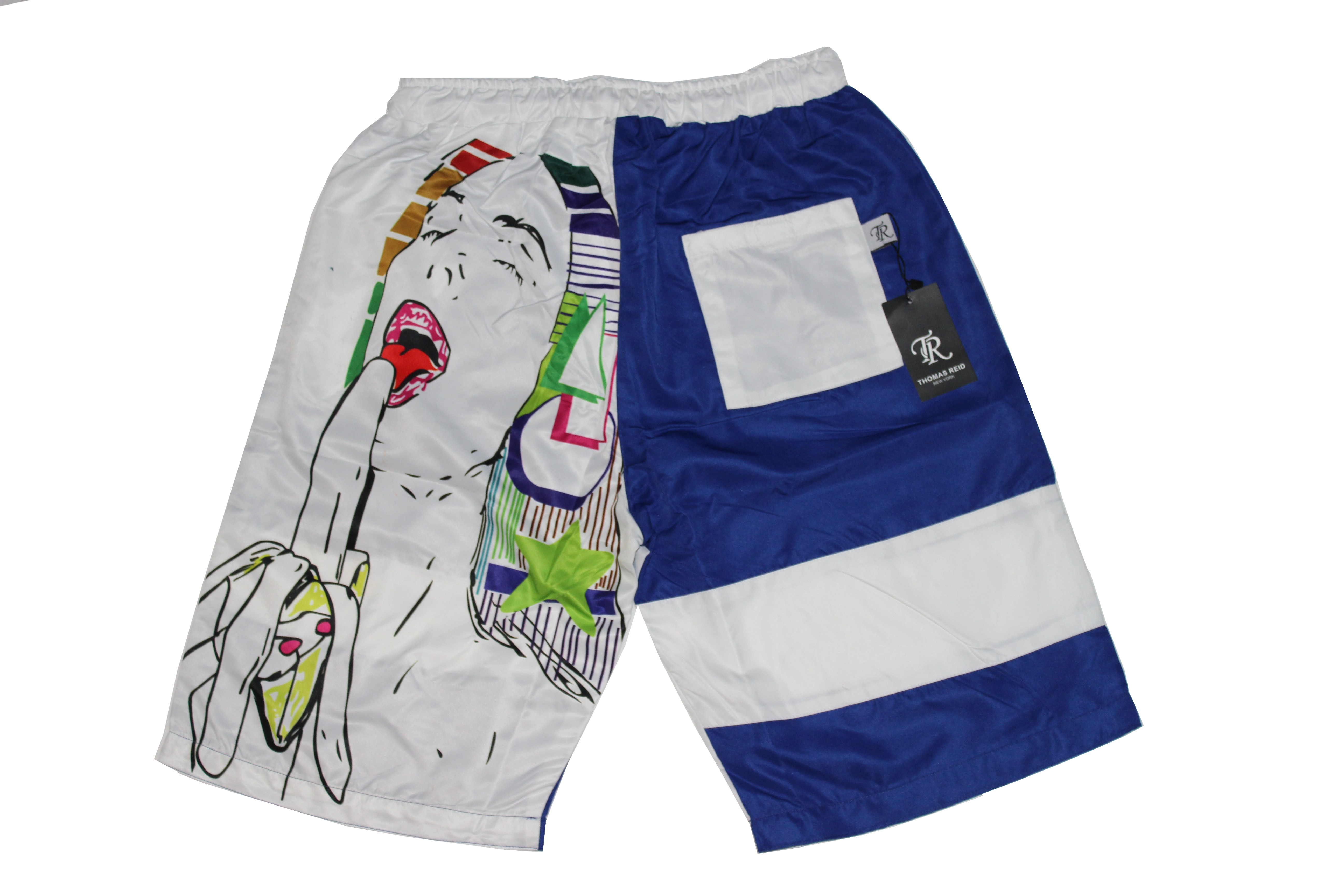 ce3a3a23e4 Contemporary Pop Art Mens Board Shorts Color block patchwork White Royal  Blue on Storenvy