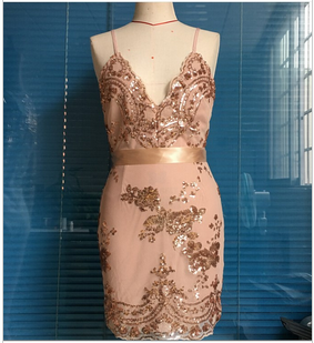 ec41836275bc ... Gold Spaghetti Strap Open Back Sequins Bodycon Dress - Thumbnail 2 ...