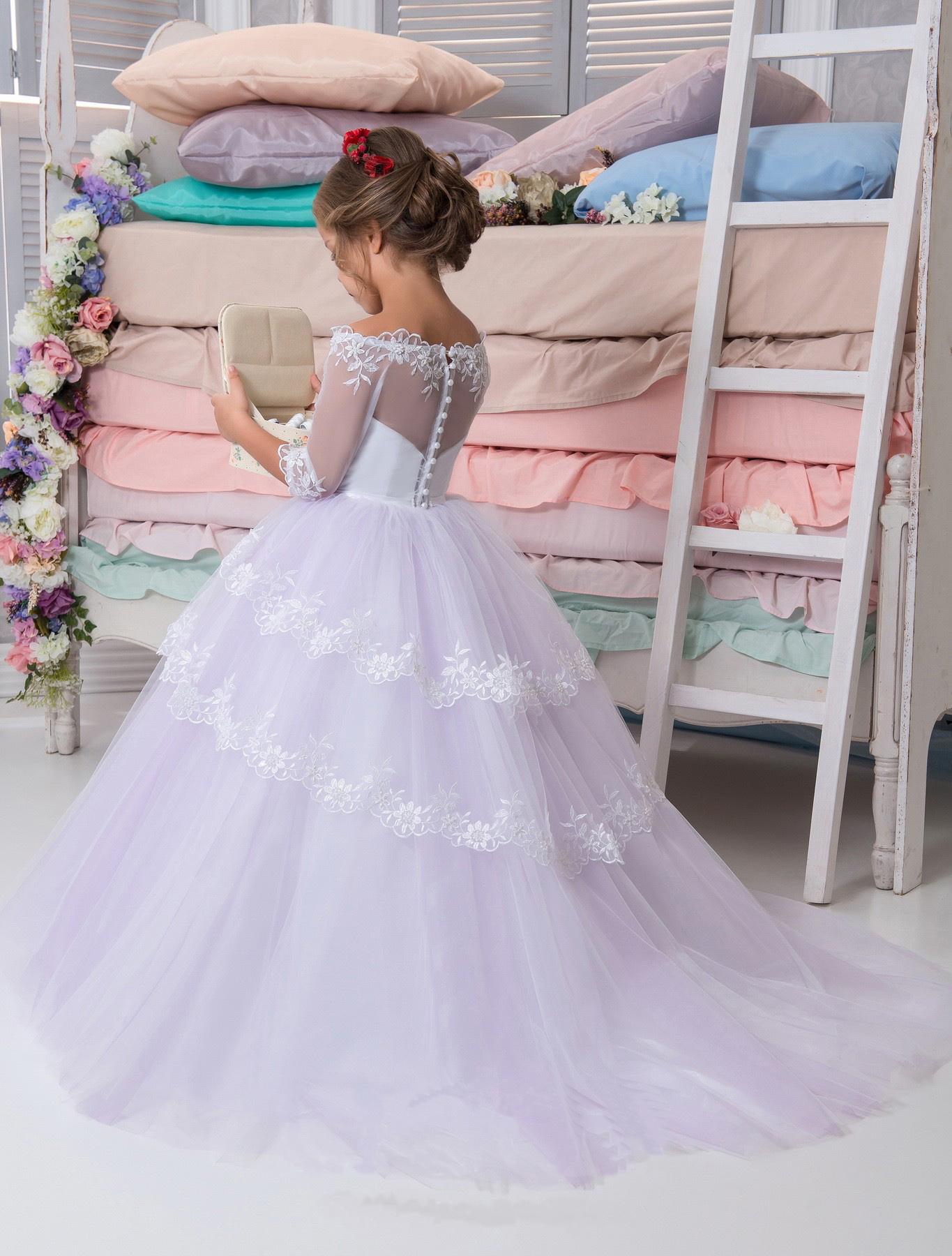 Flower Girl Dress White Purple Flower Girl Dress Flower Girl
