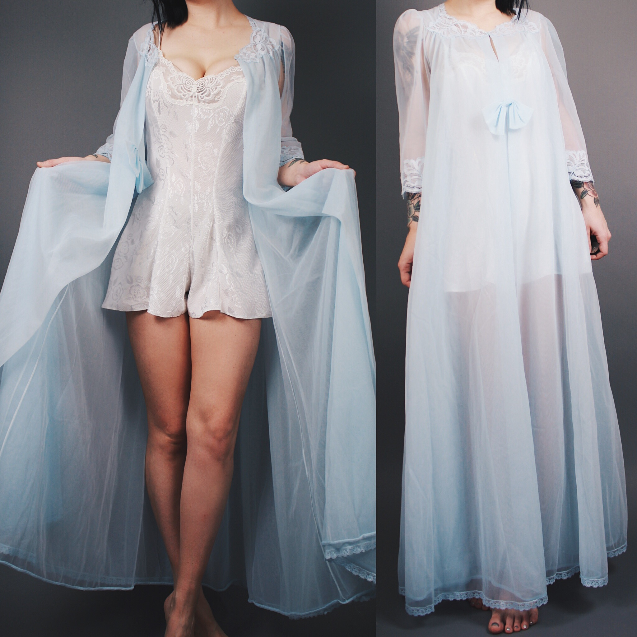 353ad47bc1de CLAIMED @_nicecube_ Vintage 1960s Baby Blue Flowy Maxi Nightgown Robe