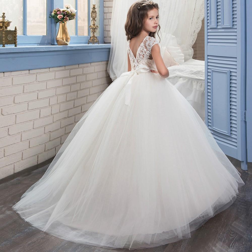 3e9493fd39e 2017 New Princess Ivory Ball Gown Flower Girl Dress Sweep Train Girls First  Communion Dress Girls ...