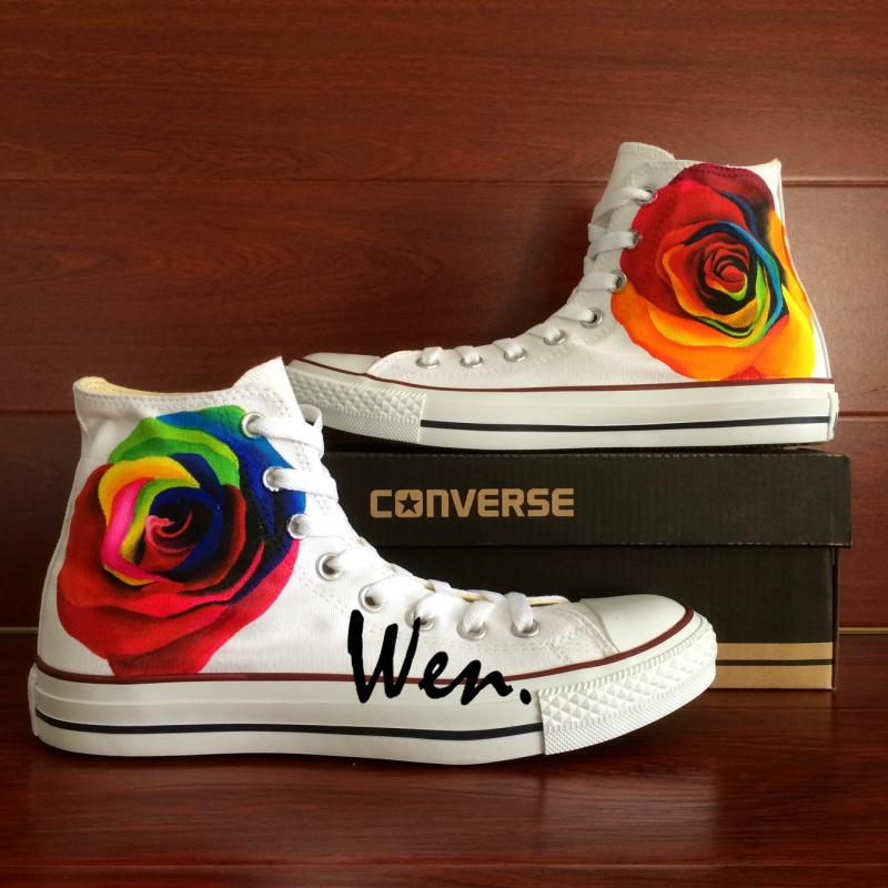 5c90b48aa20d Colourful Flower Roses Original Design Hand Painted Shoes Custom ...