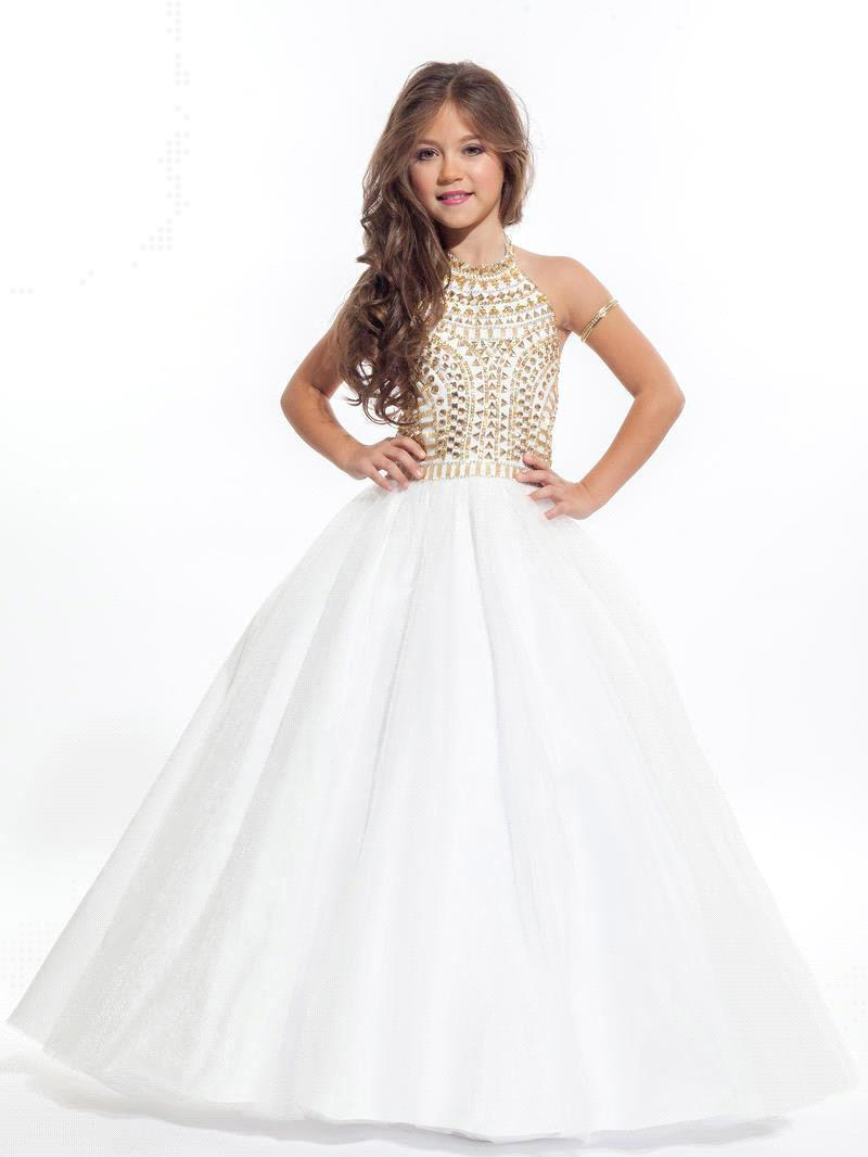 Princess White Balll Gown Flower Girl Dresses Gold Crystals Girl Pageant  Dresses Kids Evening Gowns Prom a5d6415da713