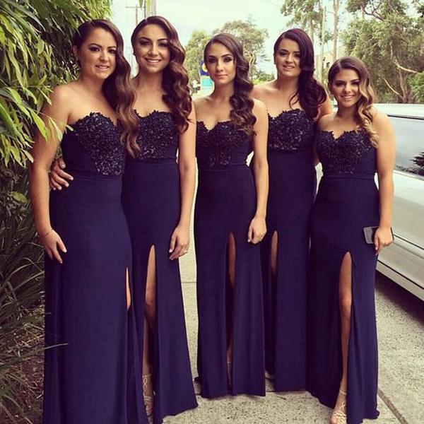 4f36f14561b2b Sheath Sweetheart Split-Front Dark Purple Bridesmaid Dress With Sequins