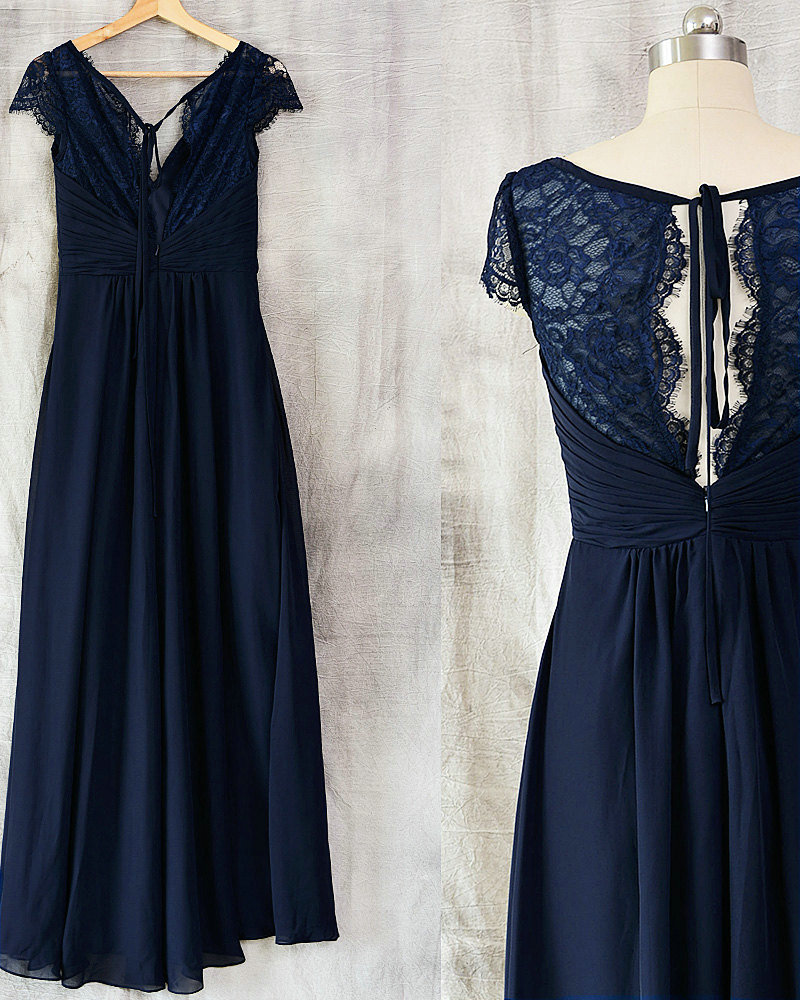 Vintage Dresses Blue Wedding: Vintage Navy Blue Lace Bridesmaid Dress · Sancta Sophia
