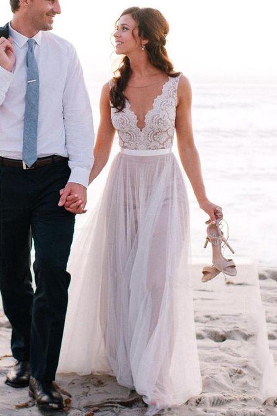A Line Illusion Open Back Lace Informal Wedding Dress Sancta
