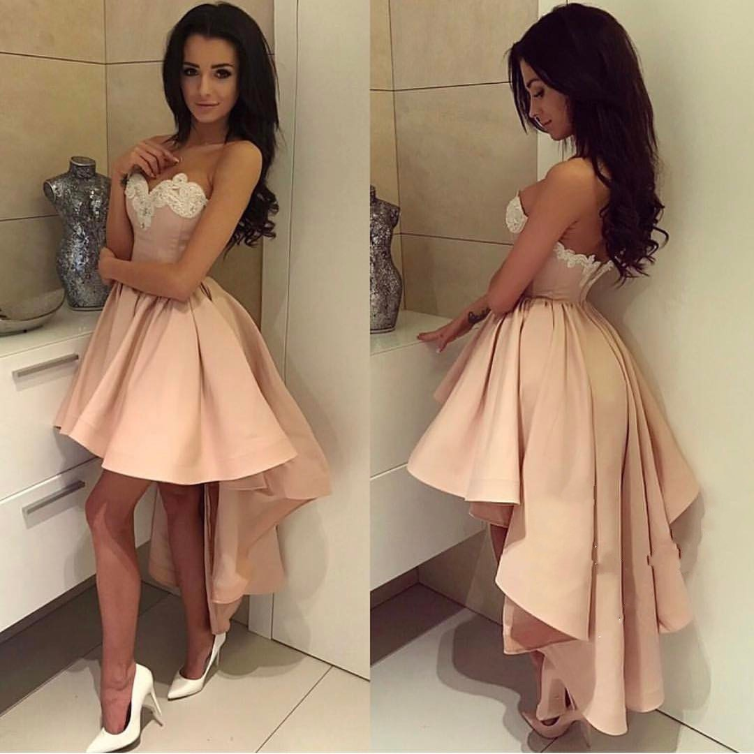 d9752410cdc Pink Hi-Lo Party Dresses Sweetheart Neck Appliques Puffy Short Prom ...