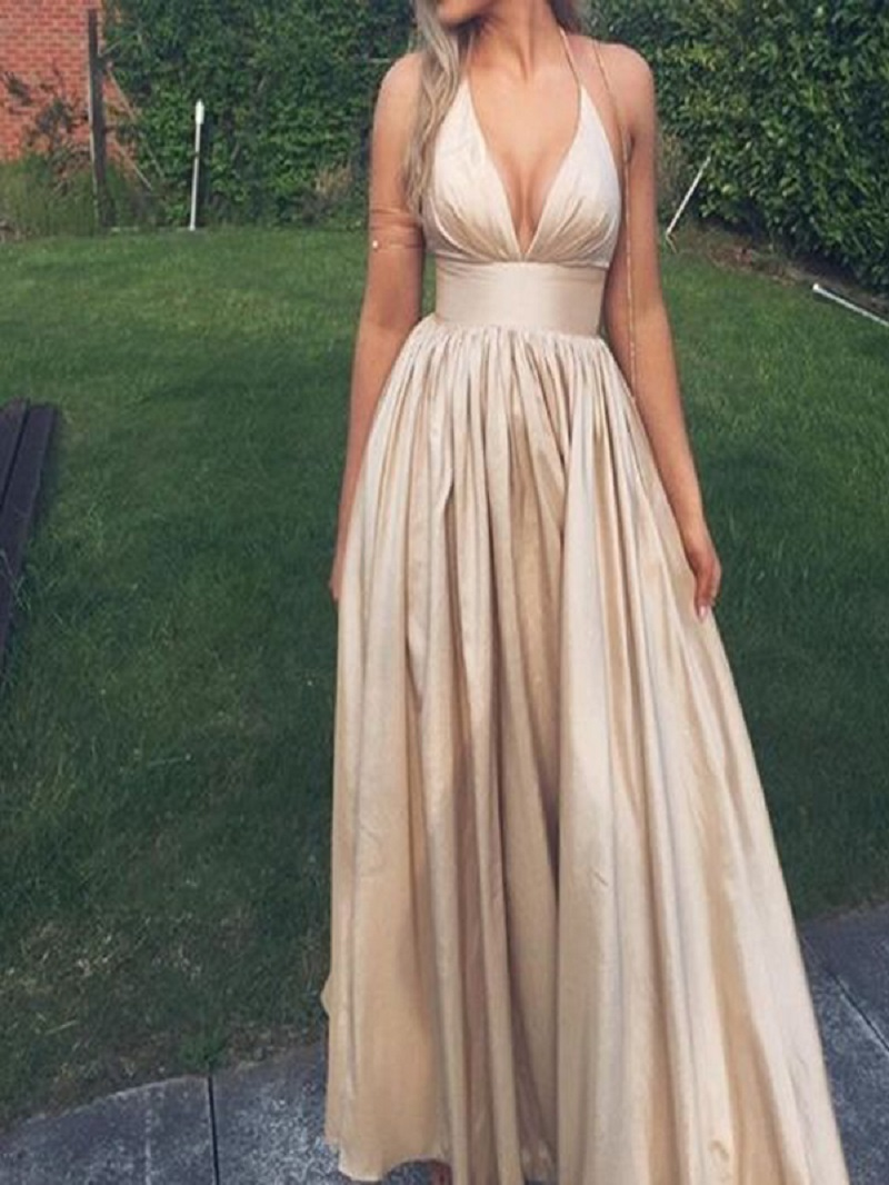 Long Custom Prom Dress Champagne Prom Dress Taffeta Prom
