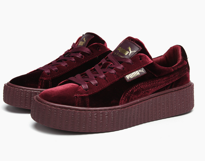 san francisco 73400 e2c44 Fashion Shoes by Rihanna Women's Velvet Burgundy Creeper Casual sneaker  from BELLDRESS