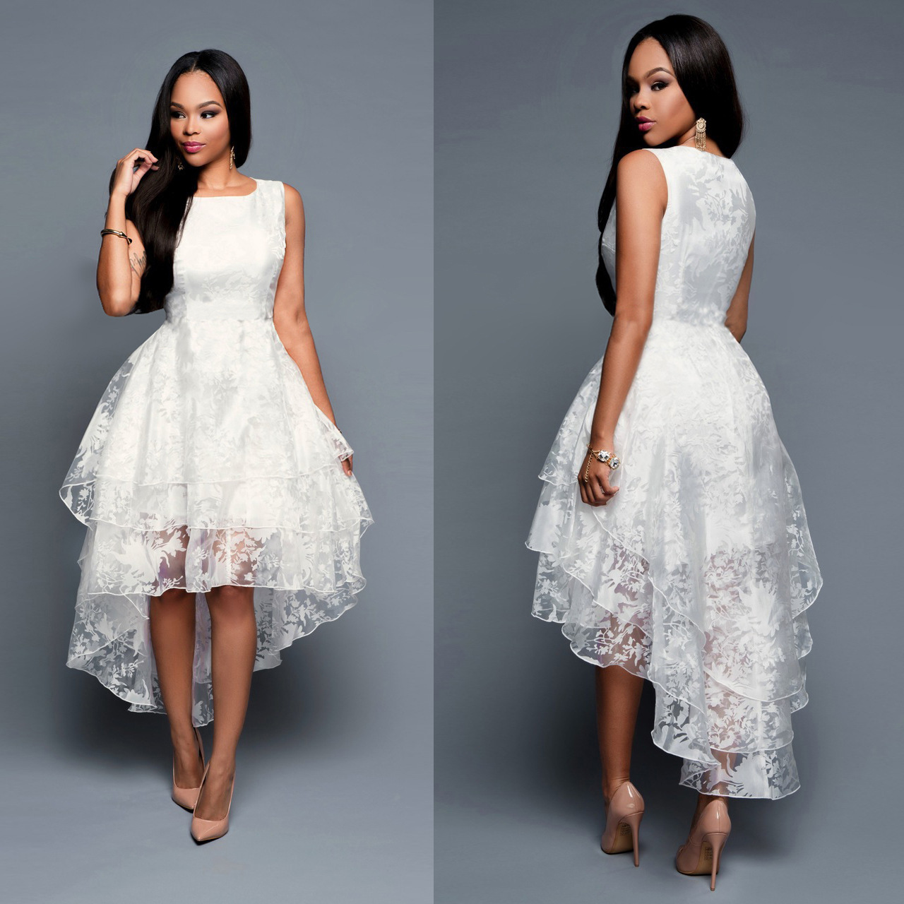 D319 White Lace Sleeveless High-Low Prom Gowns, Charming Lady Dress ...