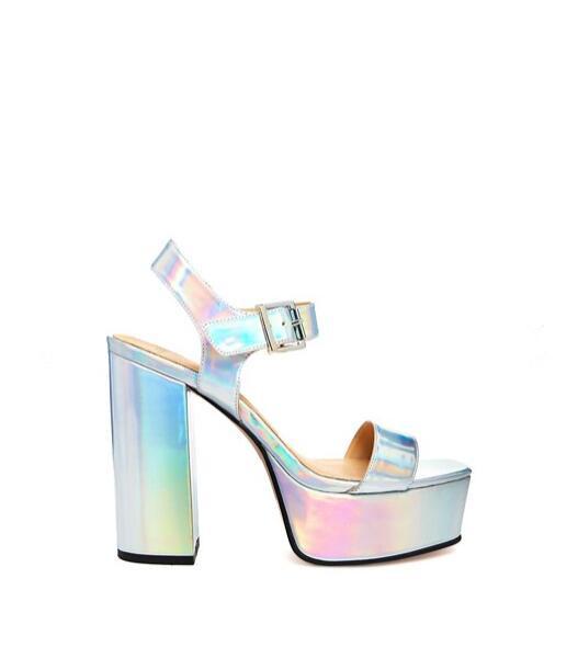 e744892b338 Holographic Metallic Platform Sandals on Storenvy