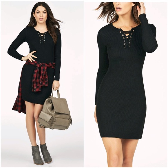 Lace Up Front Sweater Dress Black