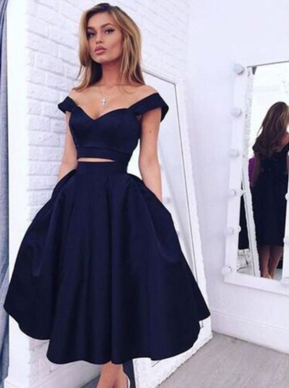 54a8f50ed44 F379 Off the Shoulder Navy Blue Short Prom Gowns