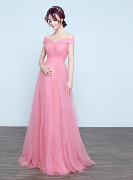 7a6fb0796c9 Off Shoulder Pink Tulle Pregnant Bridesmaid Dress