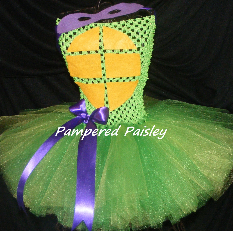 girl ninja turtle costume Halloween ideas size newborn to 5t Teenage Mutant Ninja Turtles inspired Donatello tutu dress
