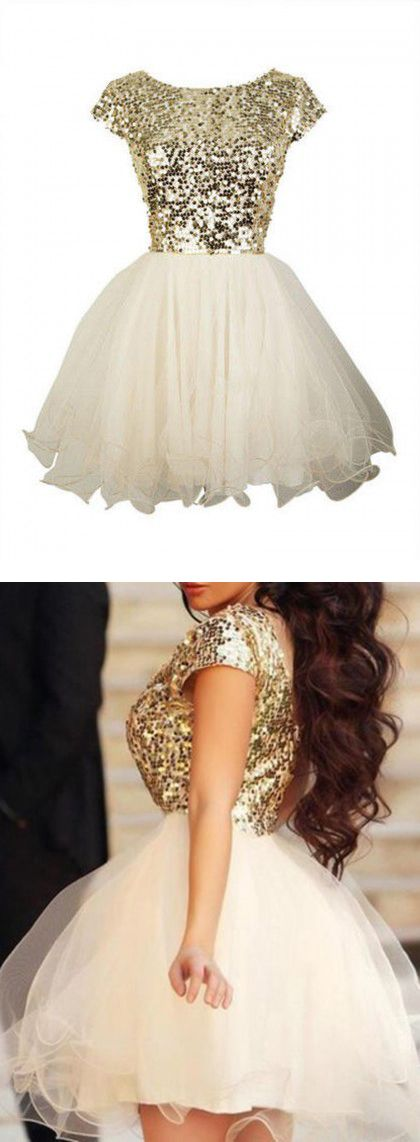 Gold Sequin Homecoming Dresses Short Sleeve Prom Dresses Sexy