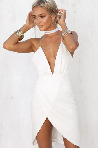 406bf30ceb5 ... Hot Sexy Asymmetrical Deep V-Neck White Short Homecoming Dress with  Backless - Thumbnail 3 ...