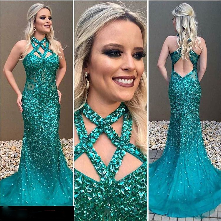 Beaded Green Prom Dressfitted Crystals Formal Gown With Cut Out