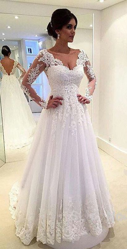 V-Neck Appliques Long Sleeves Elegant Tulle A-Line Wedding Dresses ...