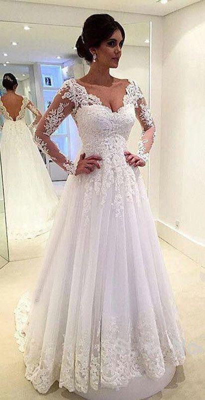 dec164633d9 V-Neck Appliques Long Sleeves Elegant Tulle A-Line Wedding Dresses ...