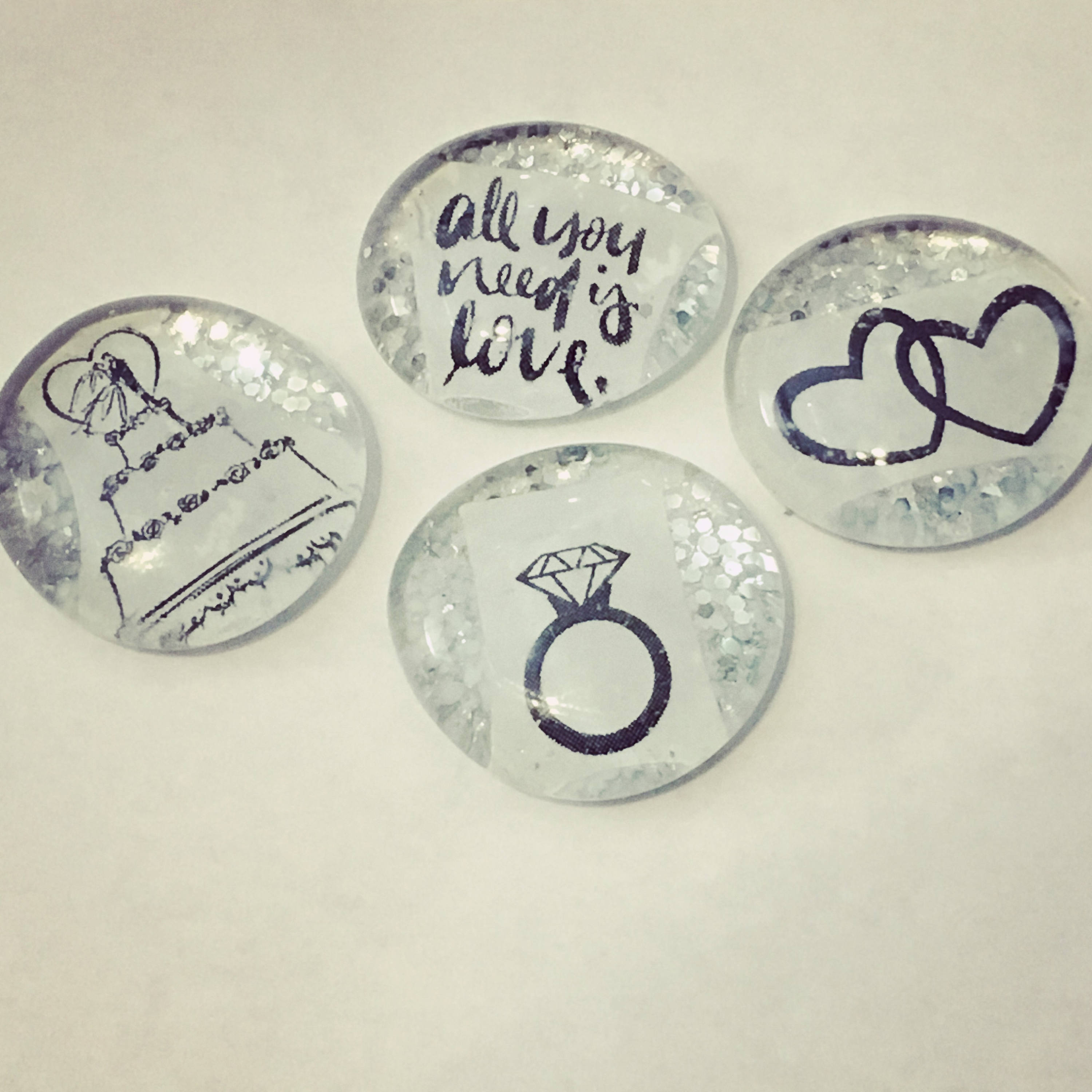 All You Need is Love Silver Sparkle Magnet/Pin Wedding Favors ...