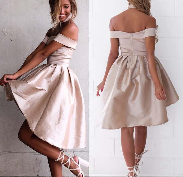 Sexy Off the Shoulder Light Champagne Prom Dress fc0cbcdbb